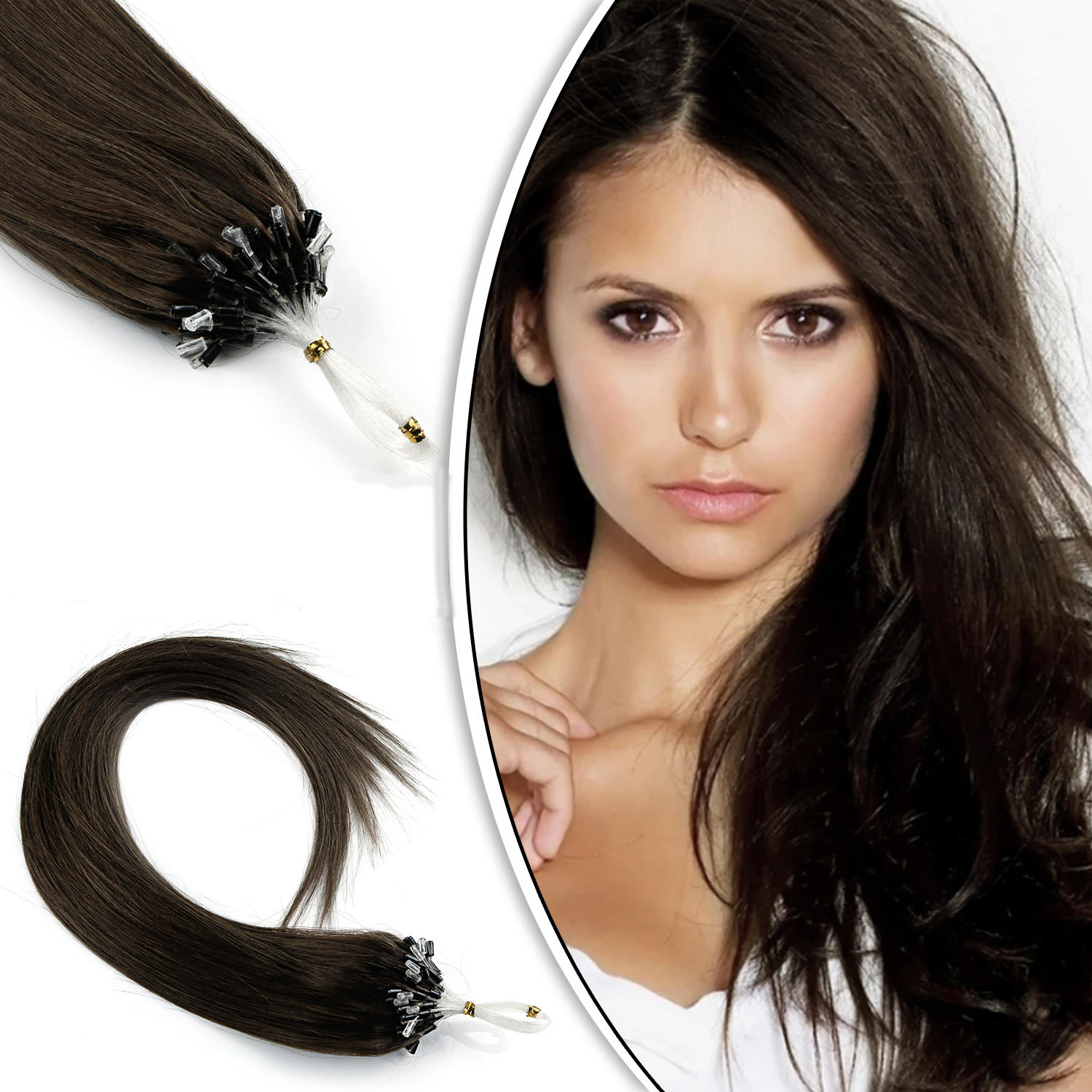 AW 16'' 20'' 24'' Micro Loop Human Hair Extensions Straight  Machine Made Remy Micro Bead Hair Extensions 1g/s