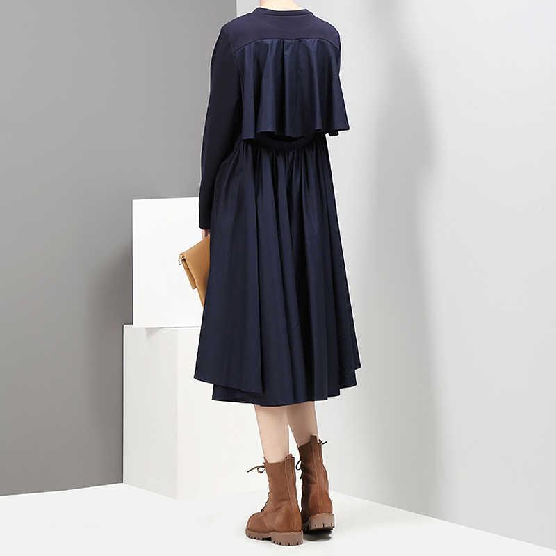 Новинка 2019, Осеннее модное женское темно-синее стильное платье миди трапециевидной формы с круглым вырезом и длинными рукавами сзади, плиссированные повседневные женские платья, халат Femme 2917