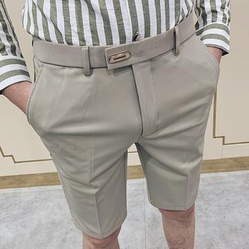 Eleganckie męskie spodnie garniturowe Stretch piąta sukienka biurowa spodnie Gentleman przycięte spodnie czarne modne stylowe męskie spodenki klasyczne lato tanie i dobre opinie OK6165 COTTON Poliester Mieszkanie Smart Casual Zipper fly