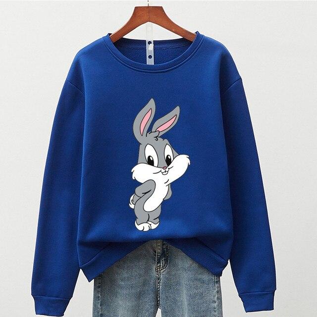 Hot Hit Winter Print Rabbit & Mouse 15 Colors S-3XL Oversize Harajuku Hoodies Women Long Sleeve Casual Couple Sweatshirts Autumn 2