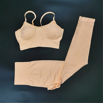 4PCS Seamles Sport Set Women Purple Two 2 Piece Crop Top T-shirt Bra Legging Sportsuit Workout Outfit Fitness Wear Yoga Gym Sets 16