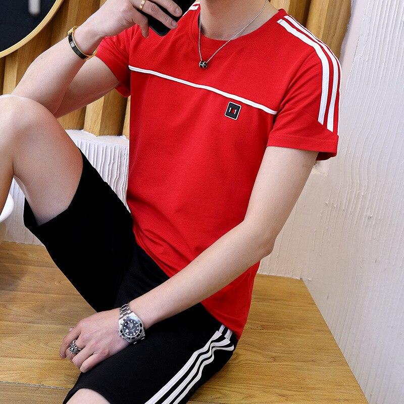 Men Summer Short Sleeve T-shirt A Set Korean-style Trend Men'S Wear Collocation Sports Casual Handsome Short Pants