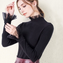 Vintage T Shirt Women Long Sleeve Slinky Mesh Patchwork Tops Tshirt Stranger Things Korean Clothes Blusas Mujer De Moda 2019