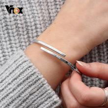 Vnox-pulsera ajustable de acero inoxidable para mujer, brazalete personalizable con nombre grabado, regalo BFF