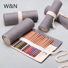 12/24/36 Holes Canvas School Pencil Case Roll Up Pencil Case for Girls Boys Large Portable Pen Bag Box Stationery Pouch Supplies