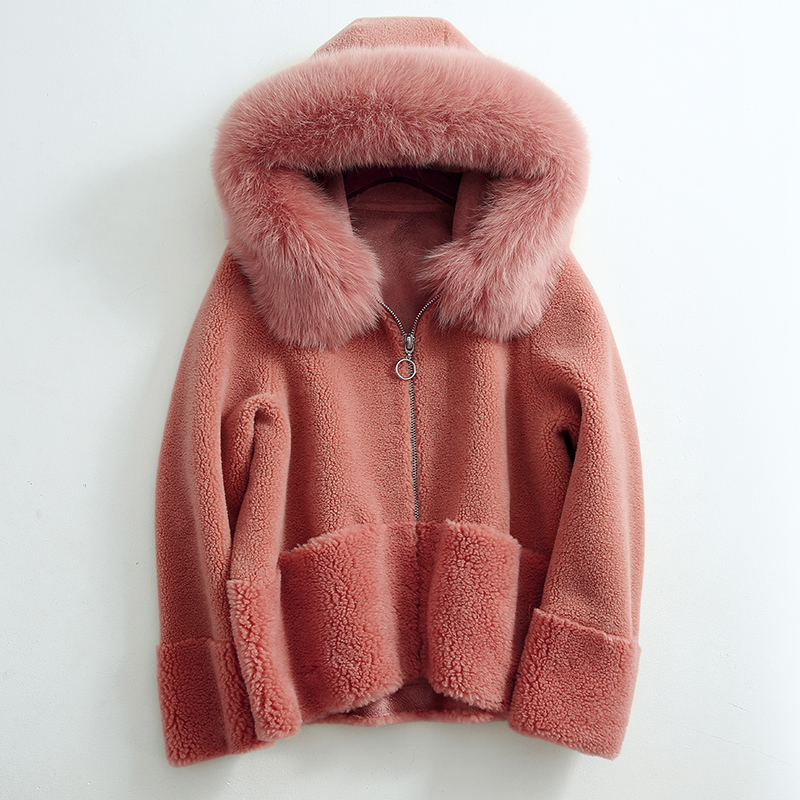 Fur Real Coat Female Sheep Shearling Fur Coats Winter Jacket Women Fox Fur Collar 100% Wool Coat Chaqueta Mujer MY3952 S