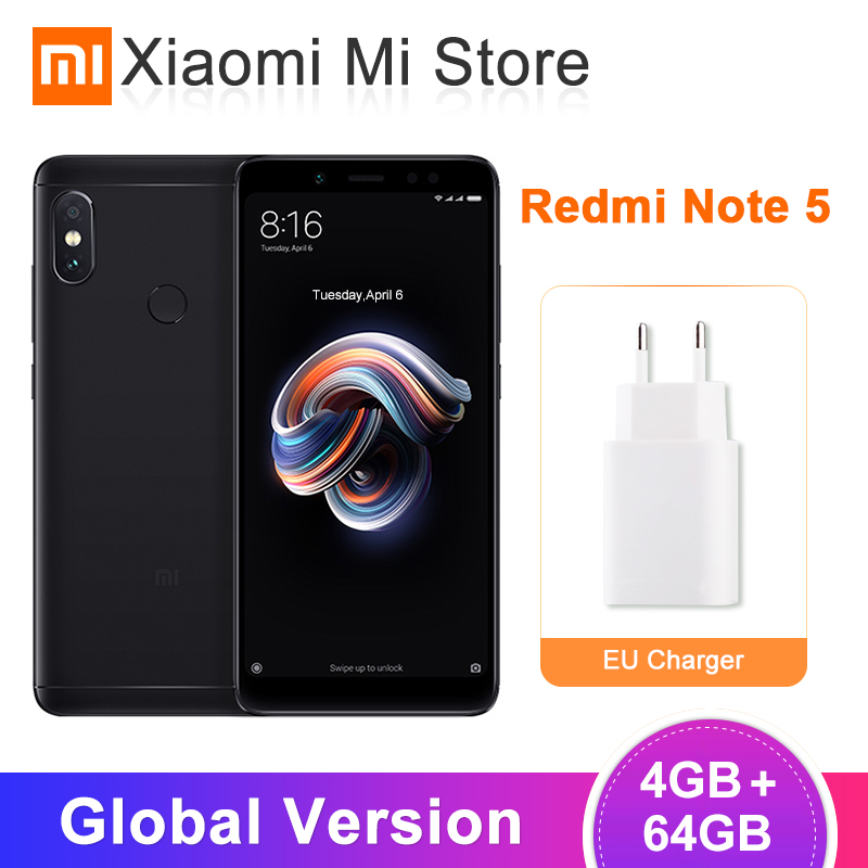 "Original Global Version Xiaomi Redmi Note 5 4GB 64GB Snapdragon 636 Octa Core SmartPhone 5.99"" Full Screen Dual Camera 4000mAh"