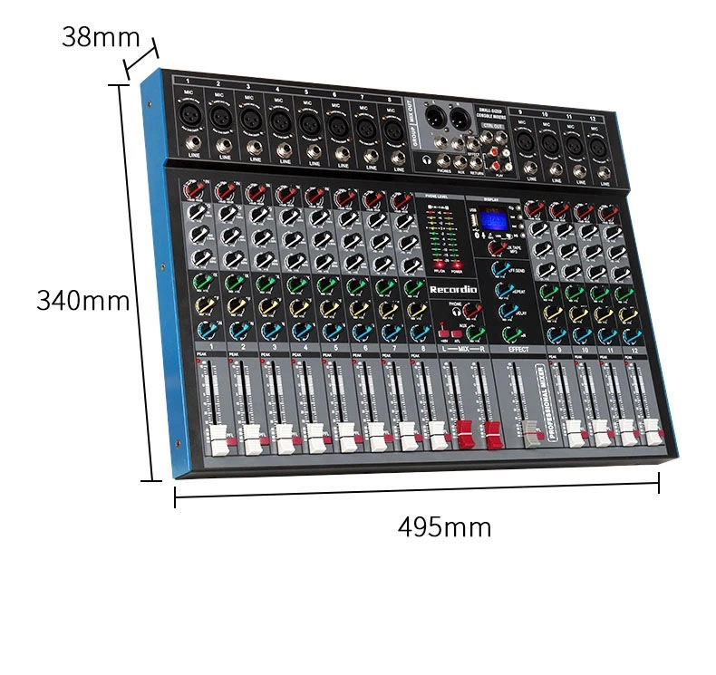 GAX-ET12 Professional 12 channel mixer single group output Blueteeth with effect reverb for stage wedding performance
