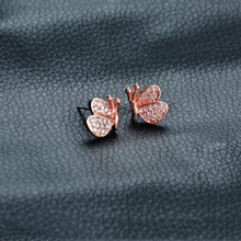 925 Sterling Silver Old Craftsman Handcrafted Diamond Butterfly Earrings Individual Classic Ladies Accessories