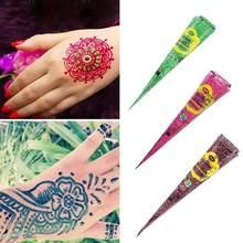 Pasta de tatuaje de Henna India para tatuajes temporales, adhesivo decorativo para el cuerpo, mdhndi, rojo, verde, azul o naranja, conos de Henna para pintura corporal, nuevo