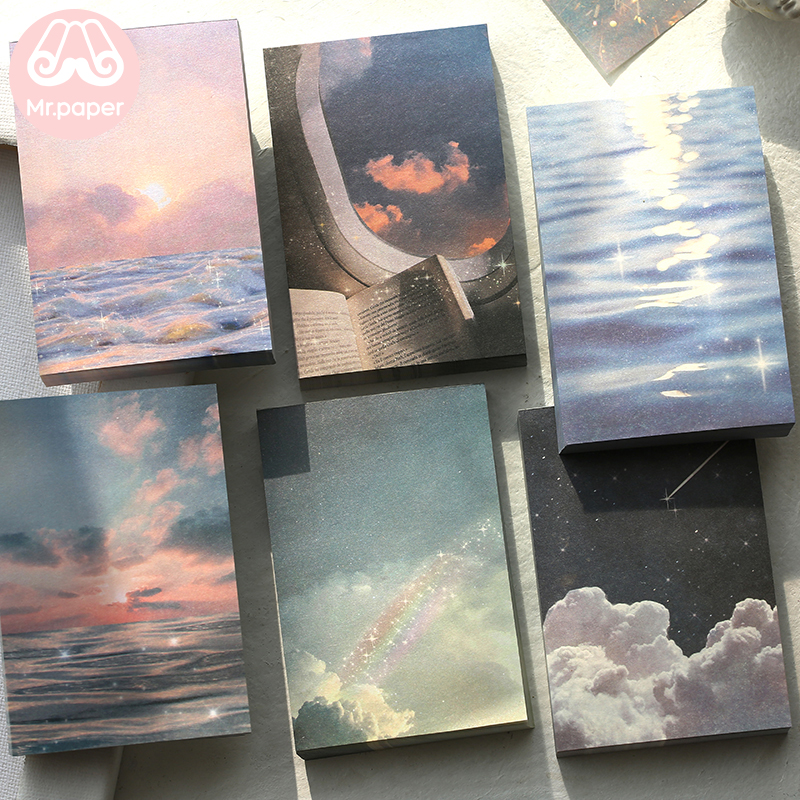 Mr Paper 100pcs/lot Ins Style Rainbow Star Sunset Waves Loose Leaf Memo Pads Minimalist Write Down Points Artsy Style Memo Pads 2
