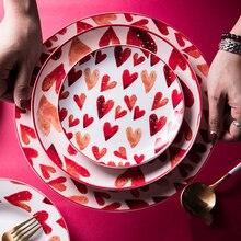 Ceramic-Plate Sushi Dessert Steak-Salad Cake Kitchen-Storage Western China Love Home
