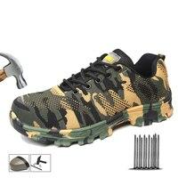 Yadibeiba bottes de travail Construction hommes en plein air en acier embout chaussures de sécurité Camouflage respirant en plein air baskets chaussures de travail
