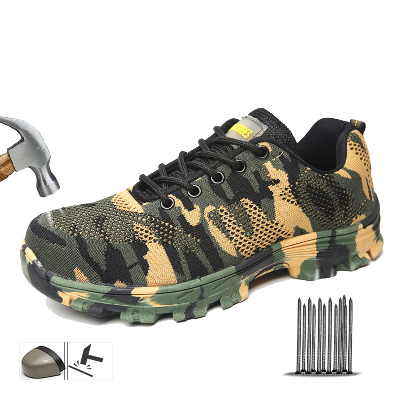 Yadibeiba Work Boots Construction Men's Outdoor Steel Toe Cap Safety Shoes Camouflage Breathable Outdoor Sneakers Work Footwear