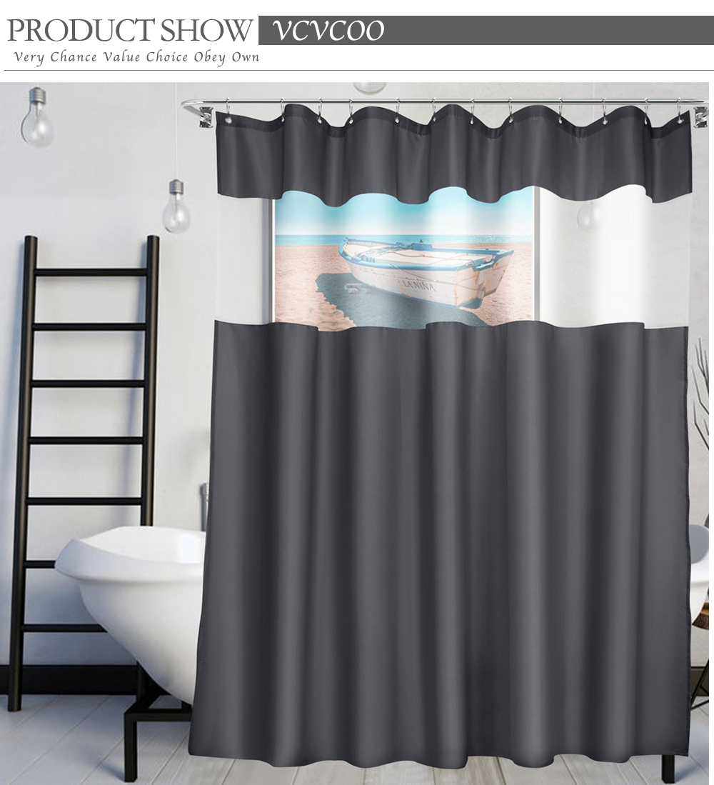 vcvcoo view fabric shower curtain with mesh window mildew resistant waterproof translucent white gauze shower curtain liner