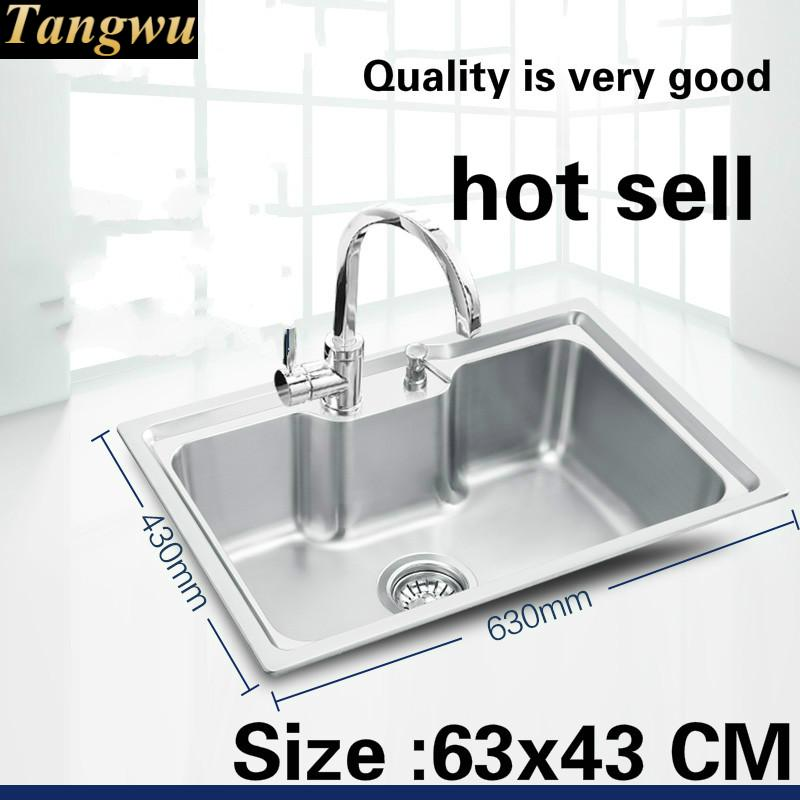 Free Shipping Luxury Kitchen Single Trough Sink 304 Food-grade Stainless Steel Wash The Dishes Standard Hot Sell 63x43 CM