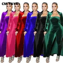 CM.YAYA Active Velvet Sweatsuit dwa 2 częściowy zestaw dla kobiet Fitness strój X długi płaszcz topy + Bodycon kombinezon damski dres 2021