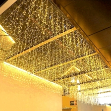 12M 고드름 문자열 조명 LED 커튼 요정 조명 야외 정원 거리 결혼식 신년 크리스마스 화환에 대 한 0.6M 부대 장식 빛