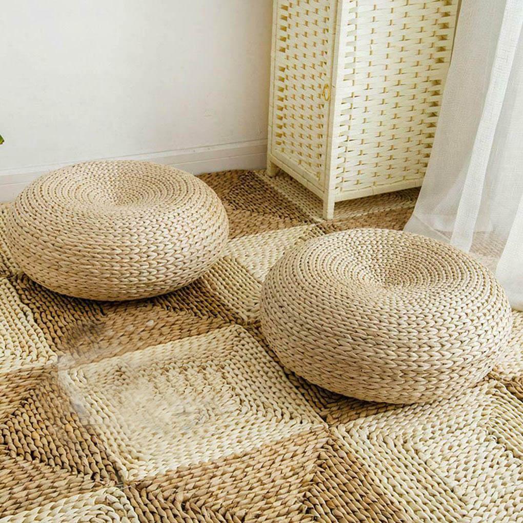 Round Room Floor Straw Mat Handmade Straw Woven Yoga Seat Cushion Dining Room Tatami Woven Straw Pad