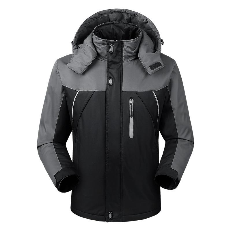 Осенняя и зимняя мужская спортивная куртка, плюс размер, Повседневный плащ, мужская куртка, плюс бархат, толстая, теплая, на открытом воздухе, Ветроустойчивая - Цвет: Черный