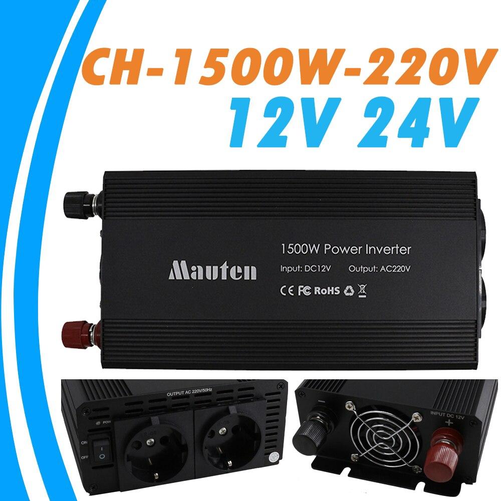 Onduleur solaire 1500W hors réseau 12V 24V onduleur à onde sinusoïdale Pure 220V prises AC avec Port USB 5V pour le ménage et le bureau
