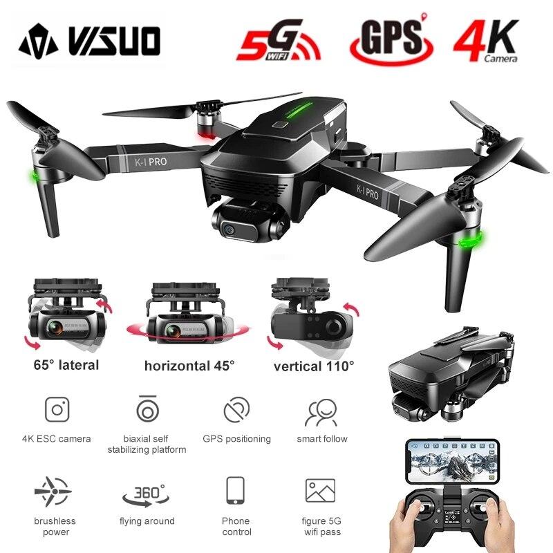 Visual zen k1 pro 4k dron hd câmera 2 eixos cardan wifi fpv gps 5g 600m distância profissional drones sem escova dobrável quadcopter