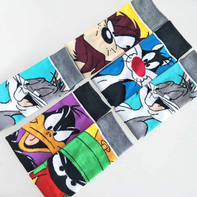 New Personality Funny Anime Socks Fashion Cartoon Happy Men Women Sock Novelty Stitching Pattern Cotton Animal Rabbit Cats Socks