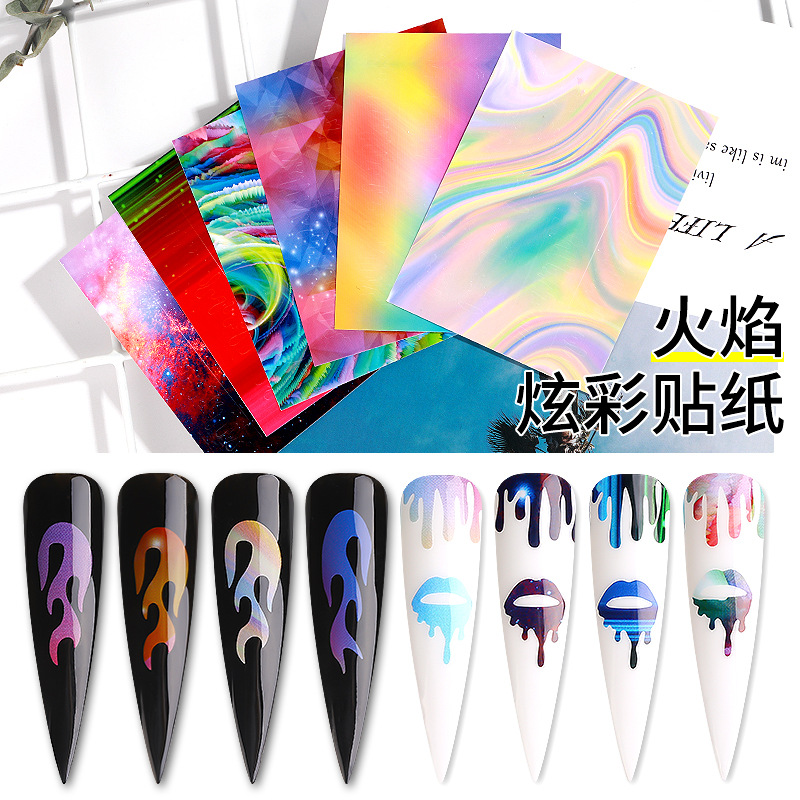 Hot Selling Flame Nail Sticker Symphony Manicure Flame Stickers Nail Sticker Lei She Tie With Gum 6 Pieces In A Case