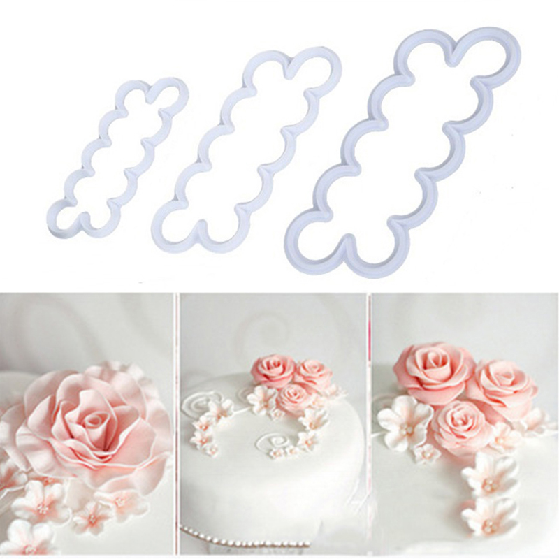 3PCS/set 3D Rose Petal <font><b>Flower</b></font> Shaped Cutter Maker Elegant <font><b>Cake</b></font> Mould Fondant <font><b>Cake</b></font> Sugarcraft <font><b>Decorating</b></font> Mould Kichen Baking <font><b>Tool</b></font> image