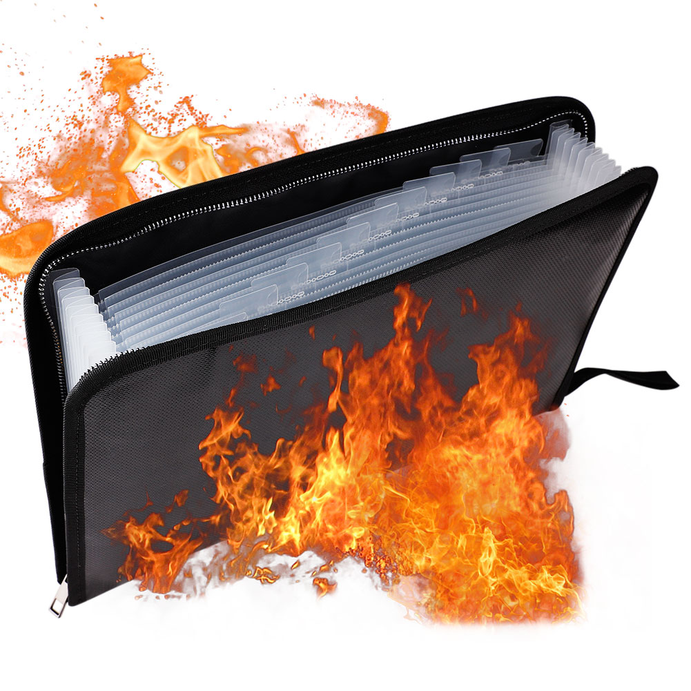 8 Size Portable Fireproof & Waterproof Document Envelope File Folder Cash Pouch Fireproof Money Bag Safe Bag For Home Office