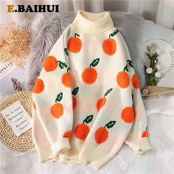 EBAIHUI 2020 Autumn Winter Sweaters Pullover Cherry Pattern Long Sleeve Sweater Women Turtleneck Knitted Jumpers Sweater Mujer 1