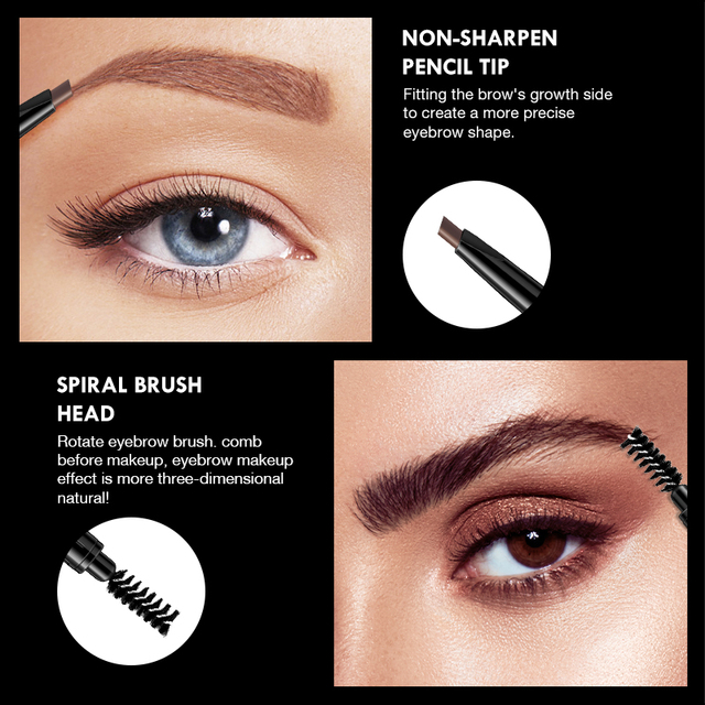 BANXEER Eyebrow 4 Colors Waterproof Eyebrow Long Lasting Eye brow Tattoo Pencil Durable Black Brown Smudge-proof Eye Brow Pencil 3