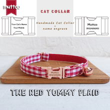 MUTTCO retail handmade engraved high quality metal buckle collar for cat THE RED YUMMY