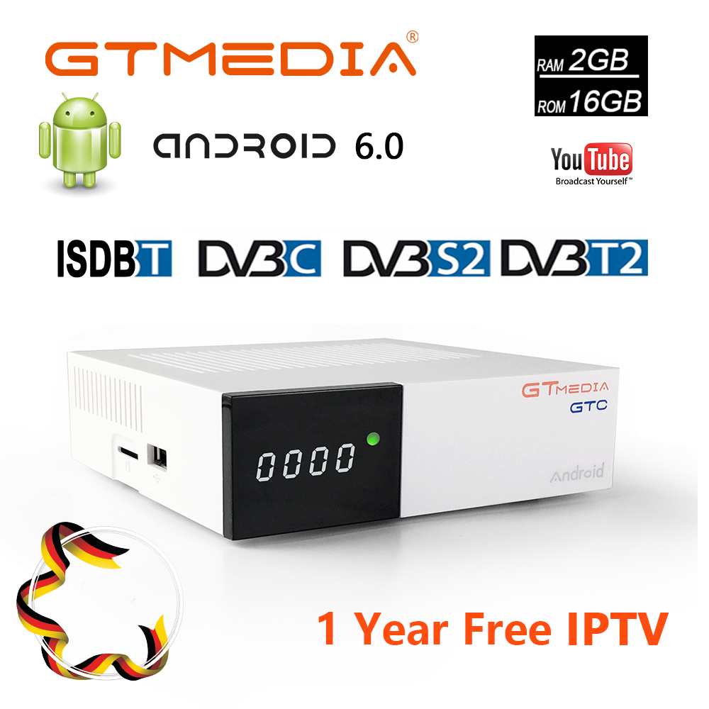 Gtmedia GTC Android 6.0 Smart TV BOX DVB-S2 DVB-T2/Cable/ISDBT 4K 3D H.265 Wifi +1 Year Free CCcam Gift Support IPTV WIFI Google