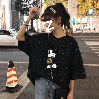 Camisetas de Mickey Mouse de Disney para mujer, camisetas de Anime Kawaii, camisetas blancas de verano con lentejuelas, camisetas gráficas de oficina para mujer, ropa femenina