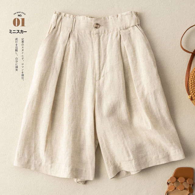 Women's Shorts with High Waisted Cotton Linen Harajuku Shorts Casual Loose Buttons Bermuda Shorts for Women Summer Plus Size 5XL 3