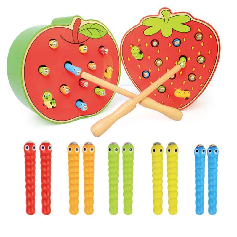 Kids Wooden Toys Catch Worms Games With Magnetic Stick Montessori Educational Creature Blocks Interactive Baby Free Delivery