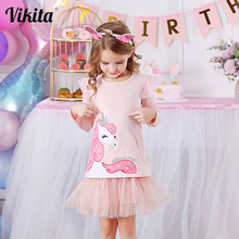 VIKITA Girls Clothing Sets Long Sleeve Unicorn Cartoon T Shirt + Tutu Sequins Skirt 2Pcs Casual Kids Children Clothing Suits