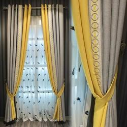 Velvet linen stitched blackout curtain fabric finished custom study bedroom floor-to-ceiling windows Nordic minimalist luxury