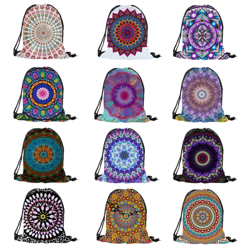 Mandala Floral Printing Drawstring Backpack 2018 New Fashion Backpack Men Women Unisex Shoulder Bag Daily Office Useful