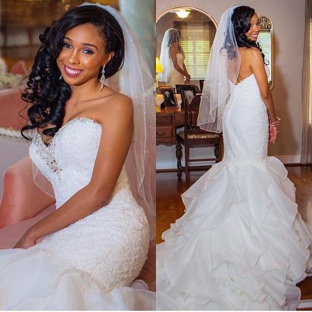 New Arrival African Mermaid Wedding Dresses 2020 Vestido De Noiva Beading Applique Lace Sweetheart Black Girl Women Wedding Gown