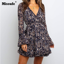 Missufe  Autumn Winter New Floral Leaf Printed Deep V-neck Flare Long-sleeved Lace Up Dress Ladies Casual Mini Tea Women