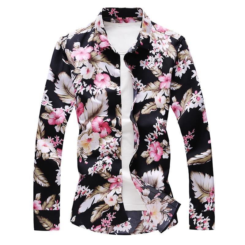 Men Floral Long Sleeve Shirt Loose Japanese Streetwear Print Fashion 2020 Flower Casual Shirts Plus Asian Size M-6XL