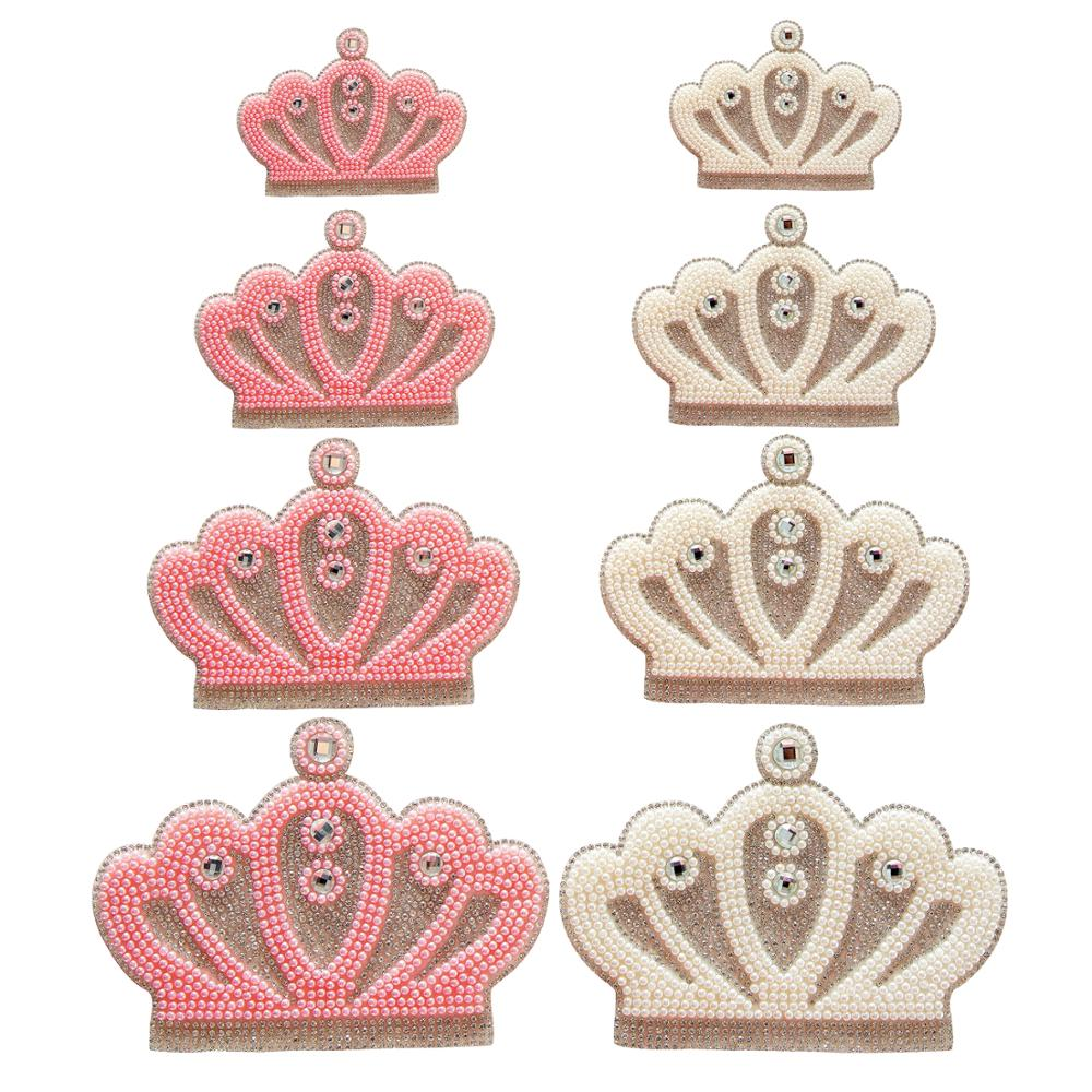 queen rhinestone crown applique pink white color beads crystal for newborn baby clothes hot fix rhinestone motif glass pathches(China)