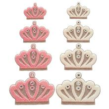 queen rhinestone crown applique pink white color beads crystal for newborn baby clothes hot fix motif glass pathches