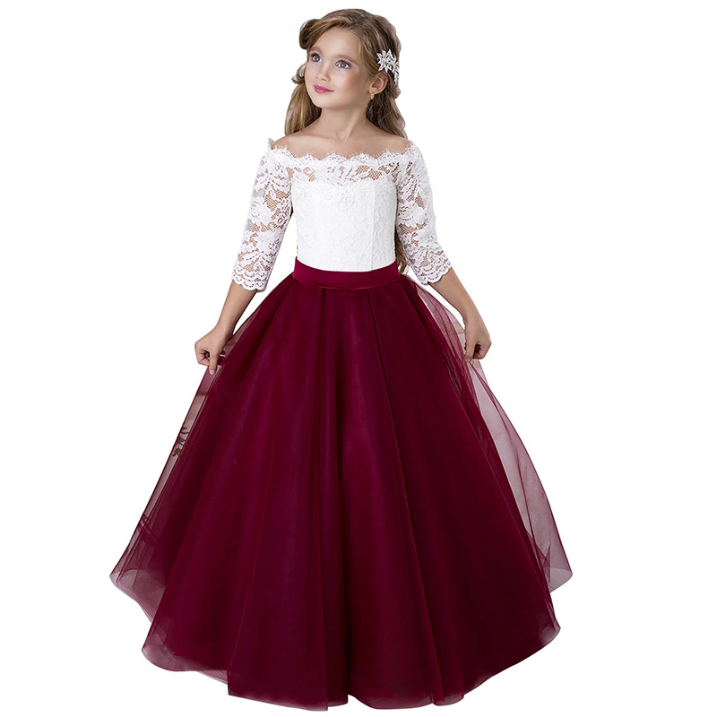 New Style Europe And America Children Dresses Of Bride Fellow Kids Off-Shoulder Qidi Three-quarter-length Sleeve Lace Performanc