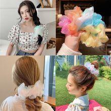 Ins Koreaanse Nieuwe Kleurrijke Bloemen Ties Haar Ring Paardenstaart Effen Kleur Dikke Darm Ring Meisjes Vrouwen Haaraccessoires Haarband