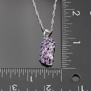 Image 3 - Conjunto de joyería nupcial de plata de circonia púrpura 925, pulseras, pendientes de las mujeres de piedras para COLLAR COLGANTE, anillos, caja de regalo