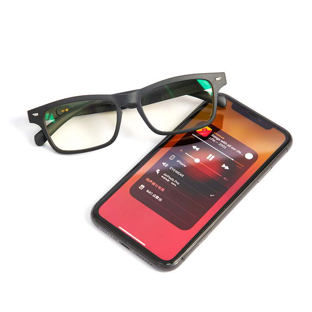 Upgrade Bluetooth 5.0 Smart Glasses Music Voice Call Sunglasses Can Be Matched With Prescription Lenses Compatible IOS Android