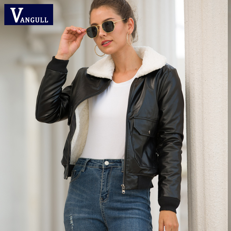 Vangull Winter Women Pu   Leather   Coat Turn-Down Collar Zipper Warm Jacket Autumn New Casual Imitation Fur   Leather   Coat Outwear